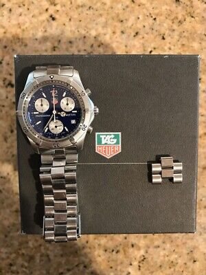 Tag Heuer Professional CK1112-0 Blue Stainless Steel Chronograph Watch W/ Box • 330$