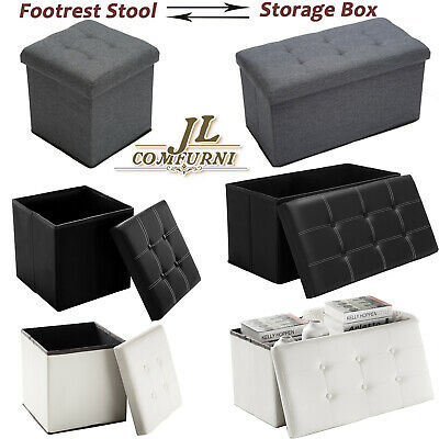 Folding Ottoman Storage Box Pouffe Seat Stool Home Chair Footstool Storage Bench • 14.59£