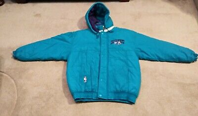 1990s Starter Charlotte Hornets NBA Hooded Jacket/Coat Embroidered Patch Size L • 86.75$