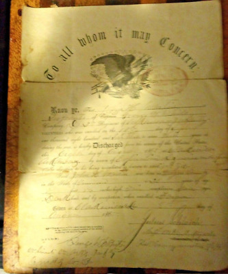 Civil War Discharge Papers George W. White Company Arkansas Infantry 1865 • 169$