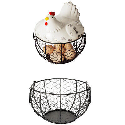 Iron Egg Storage Basket Snack Fruit Basket Creative Collection Ceramic Hen  X4Z6 • 8.80£
