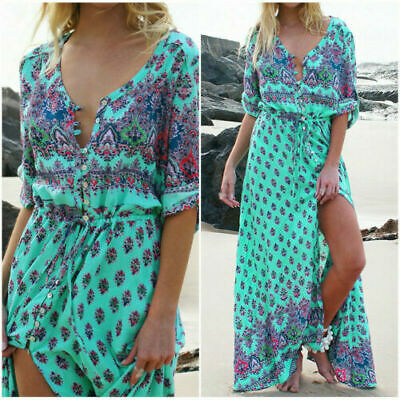 AU21.69 • Buy Women Summer Plus Size Boho Floral Sundress Holiday Beach Party Long Maxi Dress