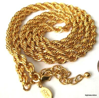 MINT FASHION Necklace SIGNED JOAN RIVERS Rope Gold Tone Chain Lot I • 2.25$