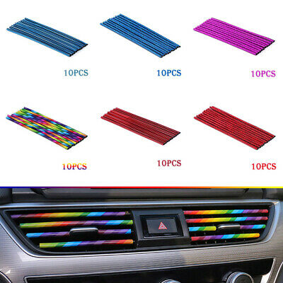 $3.30 • Buy 10Pcs Auto Car Accessories Decoration Air Conditioner Air Outlet Strip Colorful