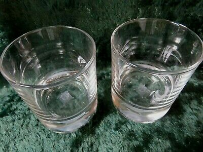 TWO CROWN ROYAL LOWBALL GLASSES 3D HOLIGRAM CROWN On PILLOW.   • 22$