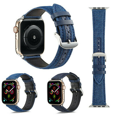 $ CDN15.95 • Buy Blue Jean Fabric Leather Apple Watch Band 38 40 42 44 Mm Series 5 4 3 2 1 Strap