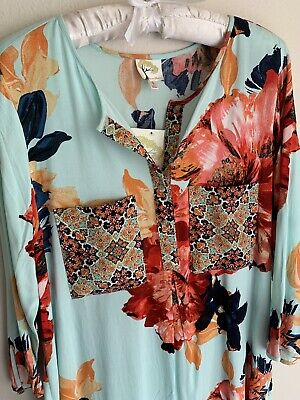 $ CDN56.56 • Buy NWT L Fig & Flower Blue Floral Blouse Top Large Shirt Tunic Anthropologie Large
