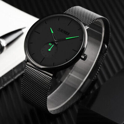 AU22.38 • Buy Men Watch Ultra Thin Wrist Watches Fashion Waterproof Dress Stainless Steel Band