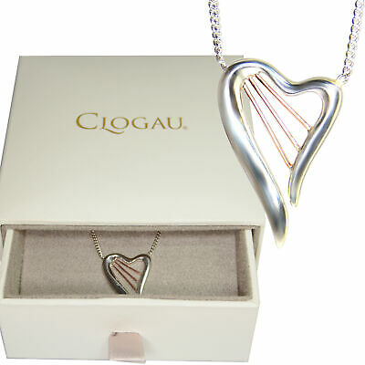 Clogau Heartstrings Harp Welsh Silver 9ct Rose Gold Necklace • 79.99£