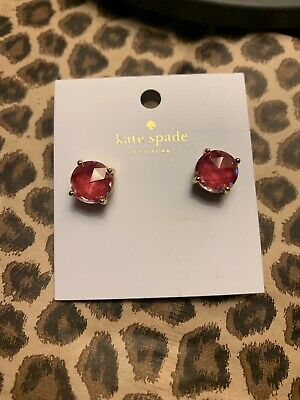 $ CDN29.94 • Buy Auth Kate Spade Pale Red Enamel Dipped Gumdrop Prism Crystal Stud Earrings NWT