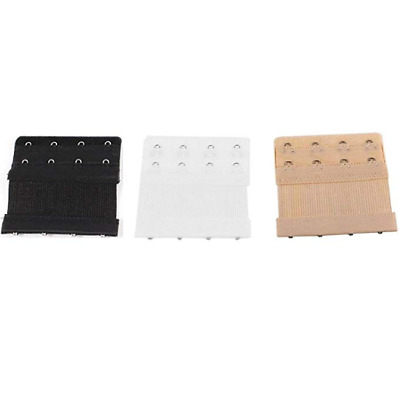 AU4.99 • Buy Bra Extender Extension 4 Hook Pack Of 3 Clip On Strap Elastic Black White Nude
