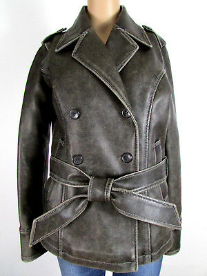 $ CDN26.71 • Buy Womens M Cyber Punk Style Gray Faux Leather Belted Peacoat W/ Epaulets By Vanity