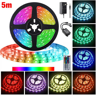 $10.31 • Buy 5M 5050 SMD RGB 300 LED Lighting Strips 44 Key Remote Controller For TV,Room US