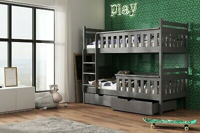 Children Wooden Pine Bunk Bed TEZO With Storage Drawers In Graphite 190/90 • 409£
