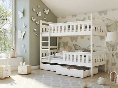Children Wooden Pine Bunk Bed TEZO With Storage Drawers In White 190/90 • 409£
