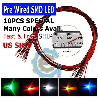 $8.95 • Buy DC 9-12V Pre-Wired SMD LED Diode 0402 0603 0805 1206 Micro Mini White Light Lamp