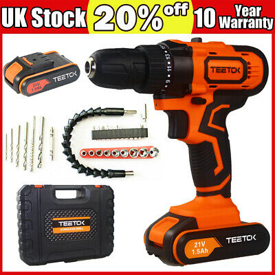 View Details 21V Cordless Combi Drill New Driver Set+ Li-Ion Fast Charge Electric Screwdriver • 49.38£