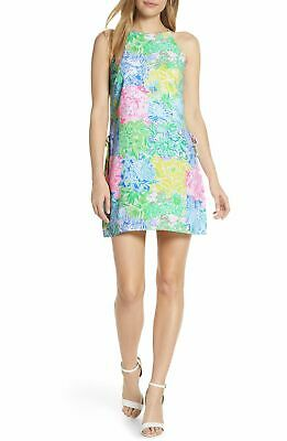 $63.97 • Buy $295 Lilly Pulitzer Women's Yellow Blue Pearl Shift Halter-Neck Romper Dress 00
