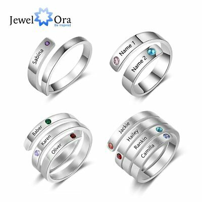$9.99 • Buy Personalized Mothers Ring Women Jewelry Free Engrave Names Birthstone 2 Colors