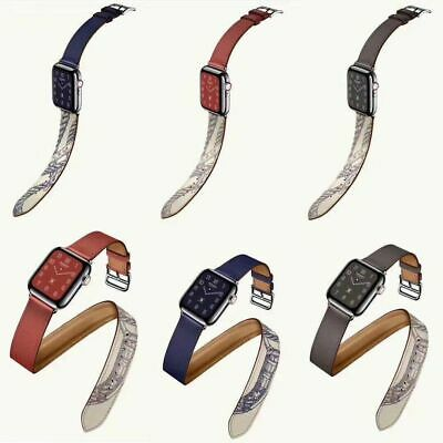 AU19.37 • Buy Leather Watch Band Strap Belt Single Double Tour For Apple Watch Series 54/3/2/1