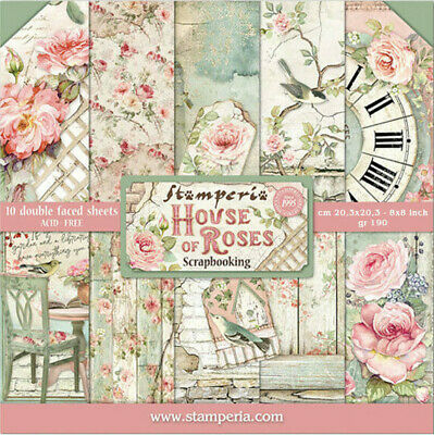 £8.50 • Buy NEW Stamperia House Of Roses 8 X 8   Paper Pad - Scrapbook Papers