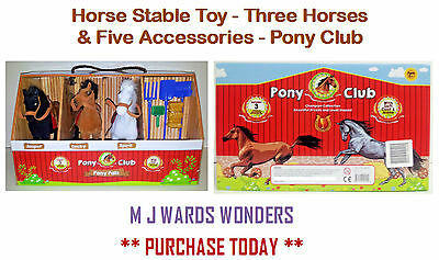 Horse Stable Toy - Three Horses & Five Accessories - Pony Club ** GREAT GIFT ** • 19.99£