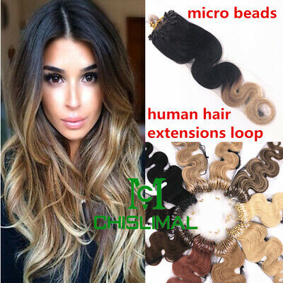 £29.40 • Buy Ombre 20Inch Wavy & Curly Loop Micro Ring Bead Tipped Remy Human Hair Extensions