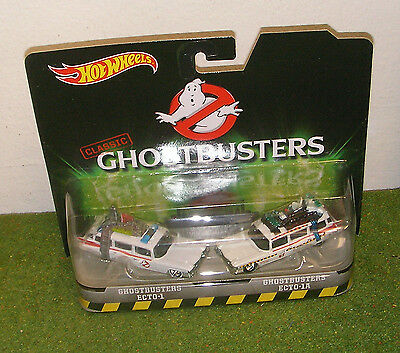 MATTEL HOT WHEELS 1:64th SCALE CLASSIC GHOSTBUSTERS ECTO-1 & ECTO-1A TWIN PACK • 29.99£