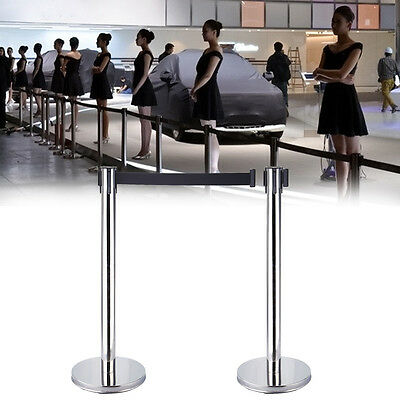 2pcs Queue Security Posts Crowd Control Stanchions Barriers With Belt Exhibition • 35.80£