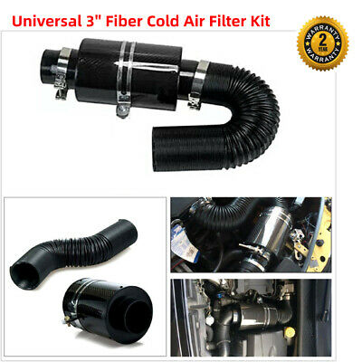 $75.17 • Buy Universal Carbon Fiber Cold Air Filter Box Feed 3  Induction Ram Intake System