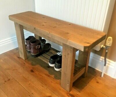 Rustic Handmade Wooden Bench With Shoe Rack - Many Colours And Sizes. • 51.99£