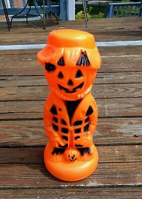 $39.99 • Buy VTG Halloween Pumpkin Scarecrow Blow Mold Lighted Inside Decor Small Outside