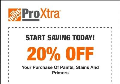 $2.47 • Buy Home Depot 20% Off Paint Stains And Primers 1COUPON-Instant-InStore Exp 8+ Days
