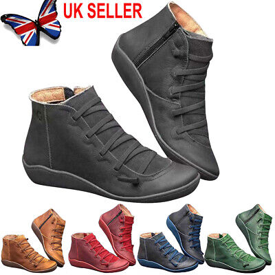 Women's Winter Arch Support Ankle Boots Ladies Lace Up Casual Flat Shoes Size UK • 13.99£