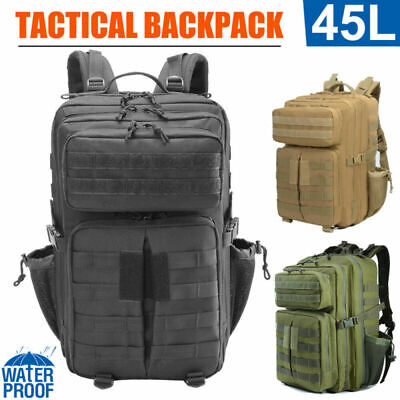AU21.89 • Buy 45L Men Military Tactical Large Backpack Cycling Hiking Camping Travel Sport Bag