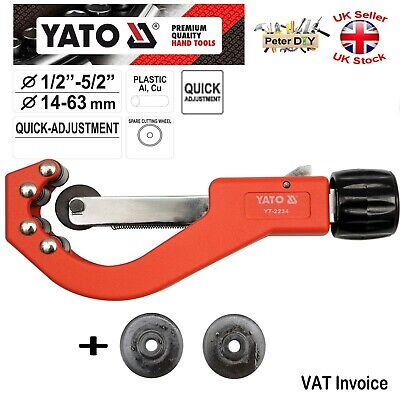 PVC Plastic Copper Al PIPE CUTTER Quick Adjustment 14-63mm (1/2 -5/2 ) YATO • 21.69£