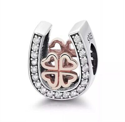 £14.99 • Buy Sparkling Horseshoe Clover Cz Charm Genuine Sterling Silver Rose Gold Plated