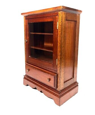 Antique Mahogany Wooden Collectors Chest / Glass Fronted Storage Cabinet  • 149£