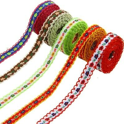 £5.87 • Buy 5Pcs Lace Ribbon Wrapping 10mm Single Face Grosgrain Satin Embroider Decoration