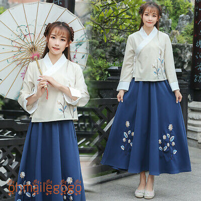 $ CDN57.29 • Buy Hanfu Women's Dress Tops Skirt Chinese Vintage Cosplay Dress Ancient Costume