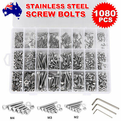 AU20.95 • Buy 1080X Stainless Steel Screws Bolts And Nuts Assortment M2 M3 M4 M5 Hex Head