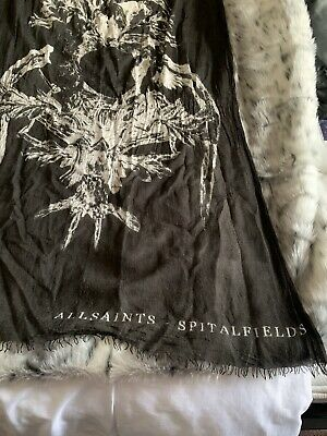 All Saints Black With White Print Scarf - Best Offer Added • 65£