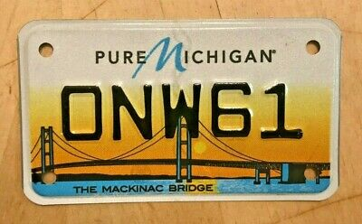 $22.99 • Buy The Mackinac Bridge Colorful Graphic Motorcycle Cycle License Plate   Onw 61