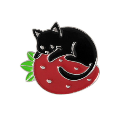 Cat Brooch Pin Badge Enamel Gift Cat Lover Black Red Strawberry Silver Jewellery • 3.35£