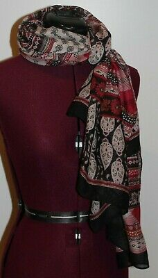 $5 • Buy Neck Scarf / Shawl / Wrap In Multi-color Tones Of Red, Black & Browns, Polyester