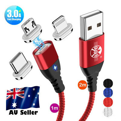 AU6.61 • Buy AU 1M2M 3A Fast Charging Magnetic Type C Micro USB Sync Cable For Samsung IPhone