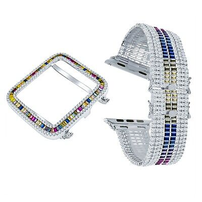 $ CDN267.63 • Buy White Gold Rainbow Colored Apple Watch Series # 4 Baguette Bezel Adjustable Band