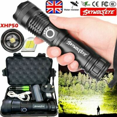 Tactical XHP70 P50 LED Flashlight USB Rechargeable Zoom Torch Camping Lamp Light • 1.99£