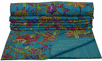 Indian Cotton Handmade Floral Kantha Quilt Quilts Blanket Throw Gudari Bed Cover • 25.99£