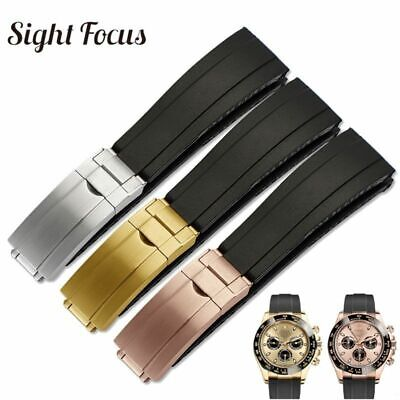 $ CDN44.76 • Buy 20MM Rubber Watch Band For Rolex Yacht Master Brush Folding Clasp Strap Belt NEW